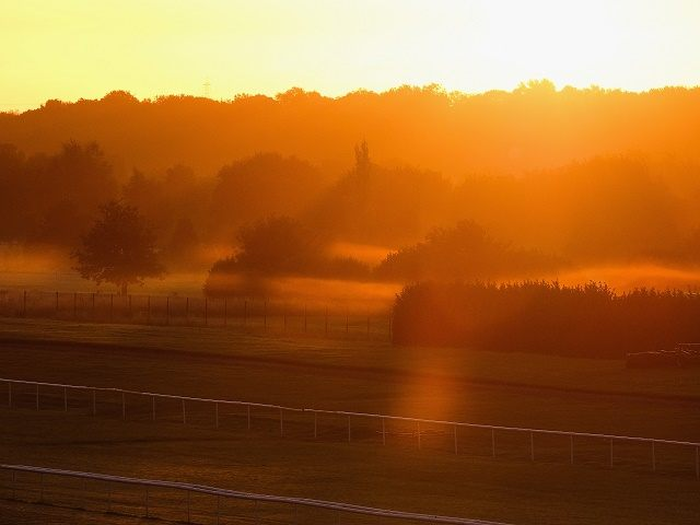 DONCASTER, ENGLAND - SEPTEMBER 26: Mist shrouds the back straight of Doncaster Racecourse at sunrise on the final day of the UK Independence Party annual conference on September 26, 2015 in Doncaster, England. After increasing their vote share following the May General Election campaign the UKIP conference this year focussed …