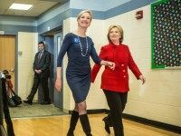 NORTH LIBERTY, IOWA - JANUARY 24: Democratic presidential candidate Hillary Clinton (R) arrives to speak at a campaign event with Cecile Richards (2nd R), president of Planned Parenthood, at Buford Garner Elementary School on January 24, 2016 in North Liberty, IA. The Democratic and Republican Iowa Caucuses, the first step …