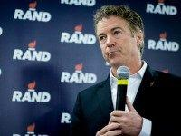 WASHINGTON, DC - February 1: Senator Rand Paul (R-TX) speaks during a caucus day rally at his Des Moines headquarters on February 1, 2016 in Des Moines, Iowa. The Presidential hopeful was accompanied by his wife, Kelly, mother, Carol Wells and his father, former Congressman Ron Paul. Pauls were there …