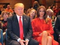 WEST DES MOINES, IA - FEBRUARY 1: Republican presidential candidate Donald Trump and his wife Melania Trump attend a Republican caucus February 1, 2016 in West Des Moines, Iowa. Democratic and Republican Presidential candidates await the caucus returns from the first step in nominating a presidential candidate from each party.(Photo by Steve Pope/Getty Images)