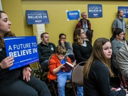 WEST DES MOINES, IA - FEBRUARY 1: Democratic caucus-goers in support of presidential candidate Sen. Bernie Sanders (I-VT) attend the party caucus in precinct 317 at Valley Church on February 1, 2016 in West Des Moines, Iowa. The Democratic and Republican Iowa Caucuses, the first step in nominating a presidential …