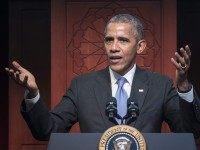 "US President Barack Obama speaks at the Islamic Society of Baltimore, in Windsor Mill, Maryland on February 3, 2016. Obama offered an impassioned rebuttal of ""inexcusable"" Republican election rhetoric against Muslims Wednesday, on his first trip to an American mosque since becoming president seven years ago. / AFP / MANDEL …"