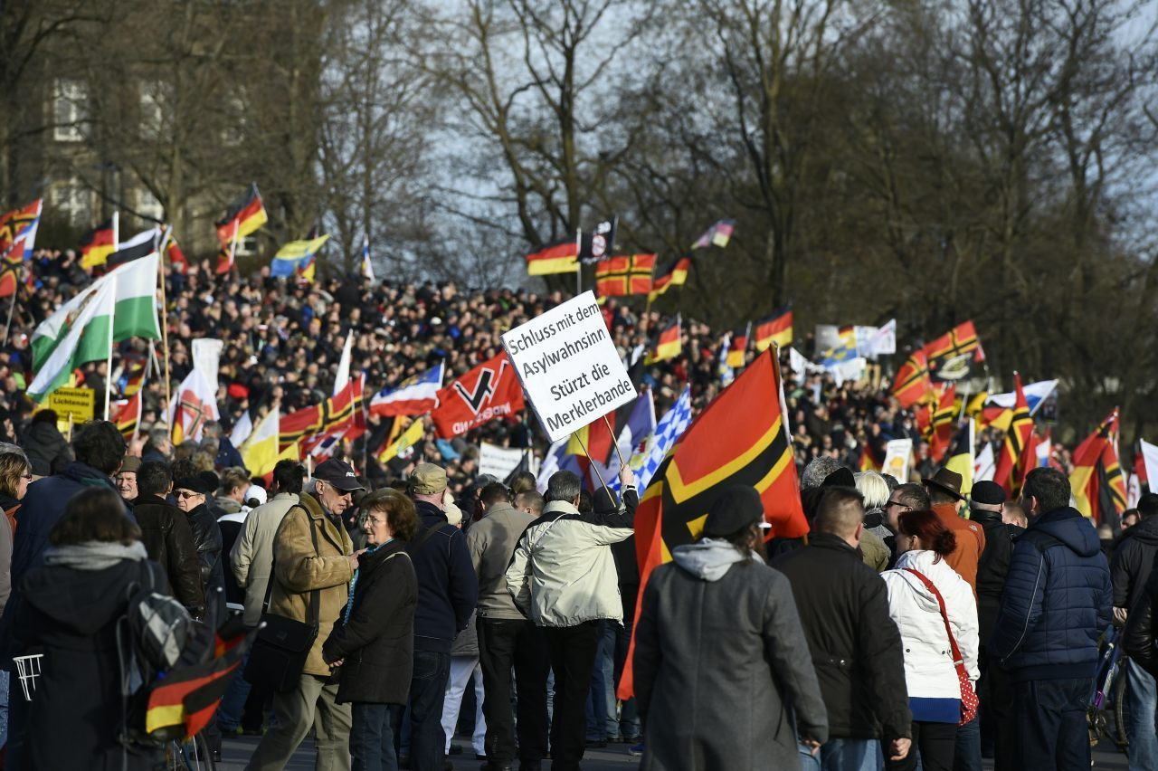 Supporters of the PEGIDA movement gather in Dresden, eastern German(TOBIAS SCHWARZ/AFP/Getty Images)