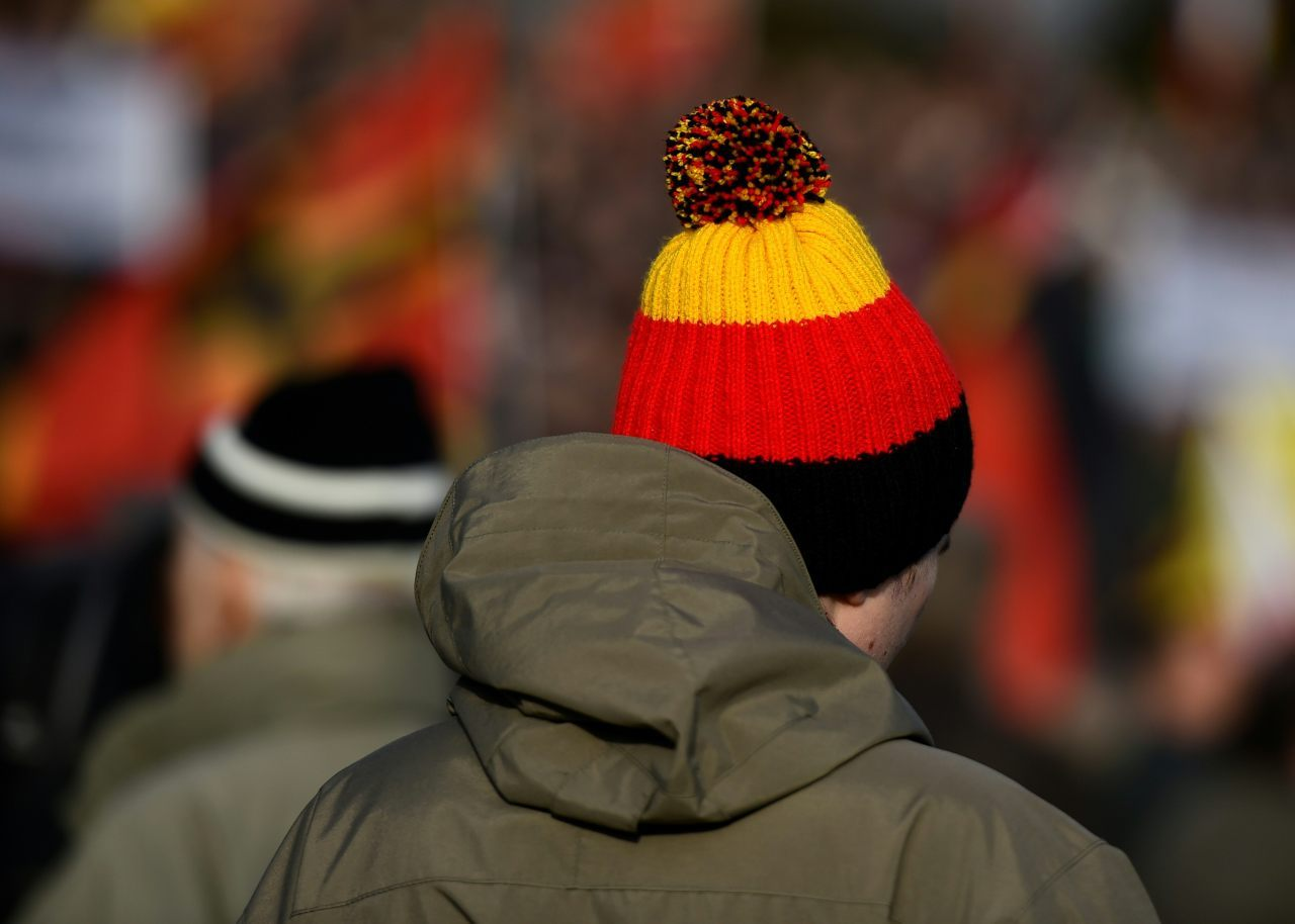 A PEGIDA supporter wears a Germany hat (TOBIAS SCHWARZ/AFP/Getty Images)