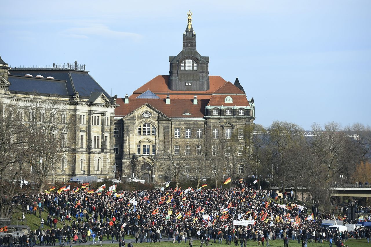 PEGIDA supporters gather in Dresden (TOBIAS SCHWARZ/AFP/Getty Images)