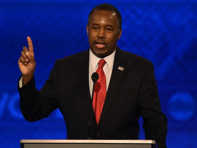Republican presidential candidate Ben Carson participates in the Republican Presidential Candidates debate on February 6, 2016 at St. Anselm's College Institute of Politics in Manchester, New Hampshire. Seven Republicans campaigning to be US president are in a fight for survival in their last debate Saturday before the New Hampshire primary, …