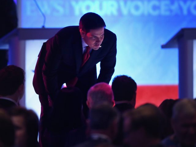 MANCHESTER, NH - FEBRUARY 06: Republican presidential candidate Sen. Marco Rubio (R-FL) talks to audience members during a commercial break in the Republican presidential debate at St. Anselm College February 6, 2016 in Manchester, New Hampshire. Sponsored by ABC News, the Independent Journal Review and Google, this is the final …