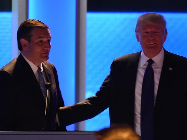 Republican presidential candidates Donald Trump (R) and Ted Cruz (L) confer during a break in the Republican Presidential Candidates Debate February 6, 2016 at St. Anselm's College Institute of Politics in Manchester, New Hampshire.  Seven Republicans campaigning to be US president are in a fight for survival in their last debate Saturday before the New Hampshire primary, battling to win over a significant number of undecided voters. / AFP / Jewel Samad        (Photo credit should read JEWEL SAMAD/AFP/Getty Images)