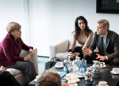 Hollywood Actor George Clooney Lobbies Merkel On Migrants