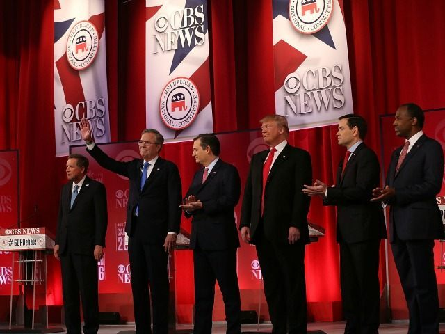 RepublicanÊpresidential candidates (L-R) Ohio Governor John Kasich, Jeb Bush, Sen. Ted Cruz (R-TX), Donald Trump, Sen. Marco Rubio (R-FL) and Ben Carson participate in a CBS News GOP Debate February 13, 2016 at the Peace Center in Greenville, South Carolina. Residents of South Carolina will vote for the Republican candidate at the primary on February 20.