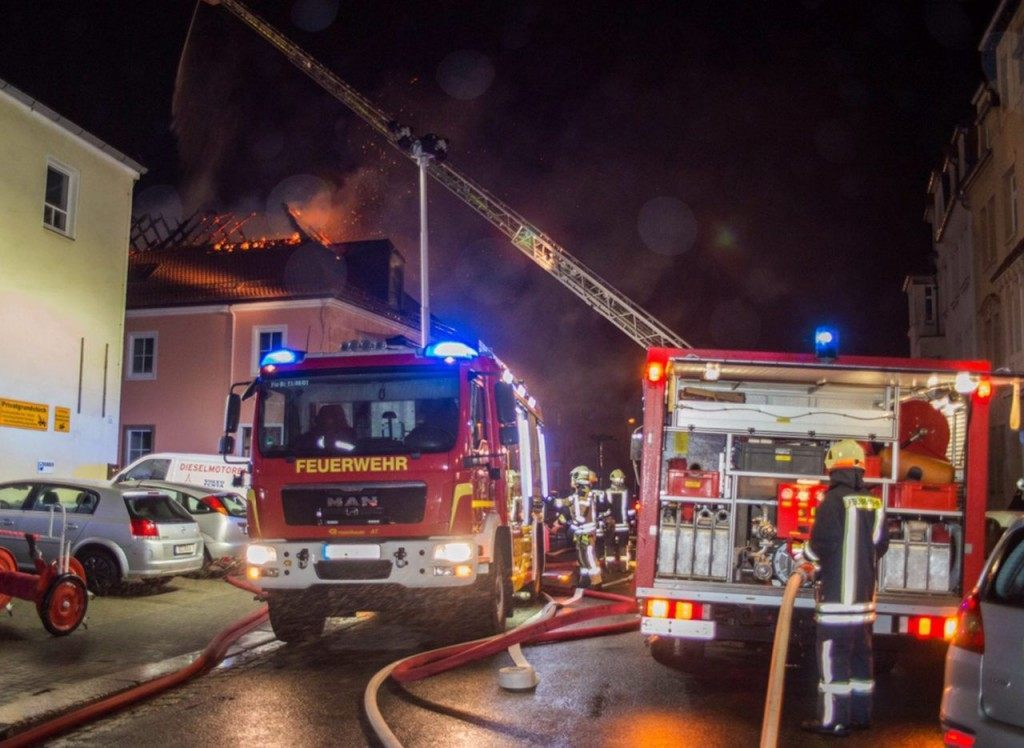 Fire fighters try to extinguish the fire on Saturday night (RICO LOEB/AFP/Getty Images)