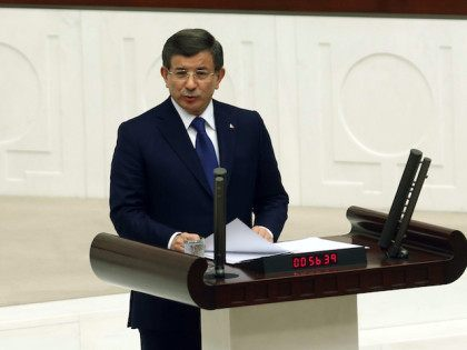 Turkish Prime Minister Ahmet Davutoglu speaks at the Grand National Assembly of Turkey (TBMM)during the 2016 Budget Debates in Ankara on February 26, 2016. / AFP / ADEM ALTAN (Photo credit should read ADEM ALTAN/AFP/Getty Images)