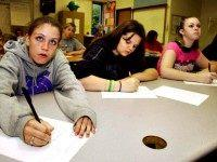 East Bank Middle School same sex WV History Class - Angela Miller, Shaina Pack and Kayla Parsons. Bob Wojcieszak/Daily Mail