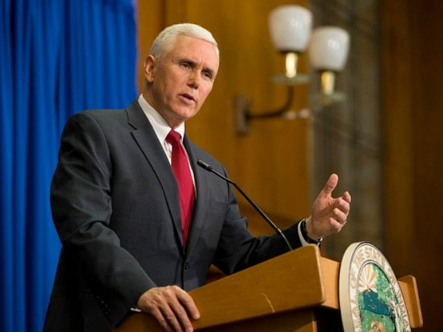 Indiana Gov. Mike Pence speaks during a press conference March 31, 2015 at the Indiana State Library in Indianapolis, Indiana.