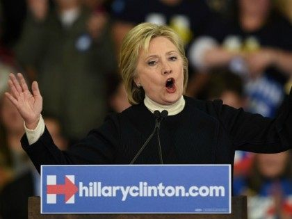 Democratic presidential hopeful Hillary Clinton speaks at her primary night party February 9, 2016 at Southern New Hampshire University in Hooksett, New Hampshire.