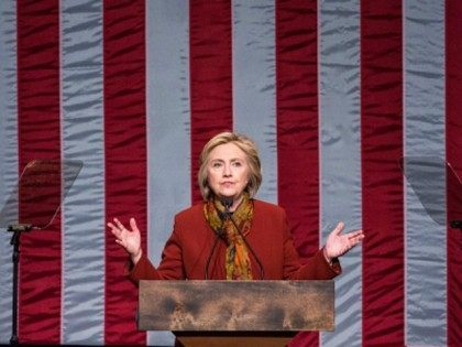 Democratic presidential candidate Hillary Clinton on February 16, 2016 in New York City.