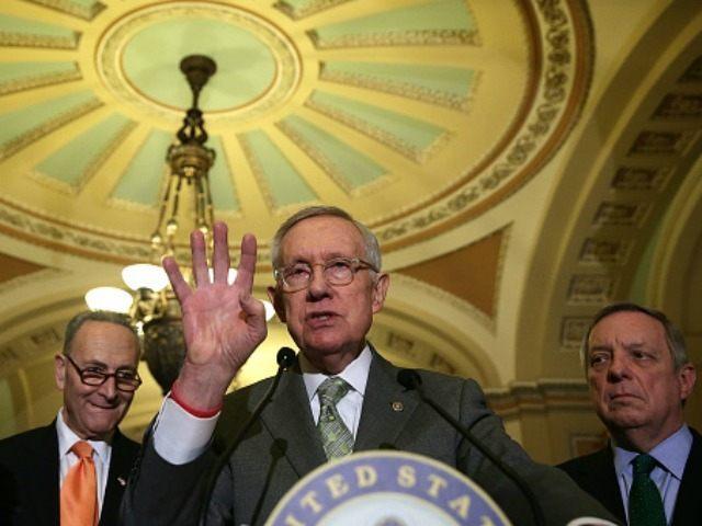 Senate Minority Leader Harry Reid (D-NV) speaks January 20, 2016 on Capitol Hill in Washington, DC.