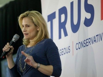 Heidi Cruz speaks about her husband Republican presidential candidate Ted Cruz during a campaign event at the Johnson County Fairgrounds January 31, 2016 in Iowa City, Iowa.