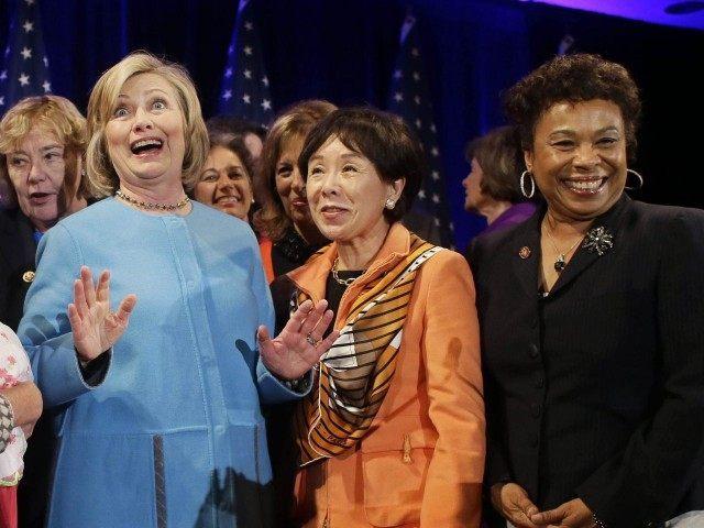 Hillary Clinton and Barbara Lee (Eric Risberg / Associated Press)