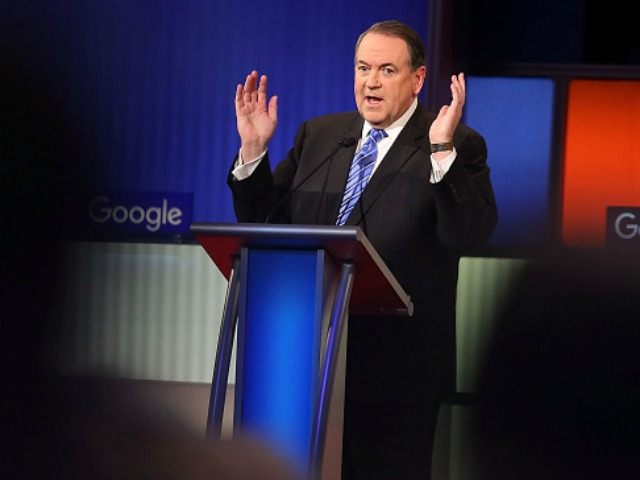 Republican presidential candidate Mike Huckabee participates in the Fox News - Google GOP Debate January 28, 2016 at the Iowa Events Center in Des Moines, Iowa.