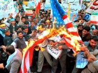 Iranians Burn Flag Vahid SalemiAP