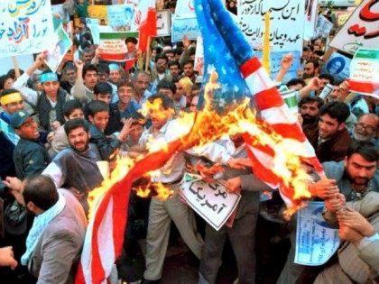 Iranians Burn Flag Vahid SalemiAP