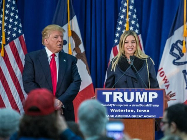 WATERLOO, IA - FEBRUARY 1: Republican presidential candidate Donald Trump (L) is joined on stage by his wife Melania Trump, daughter Ivanka Trump, and son-in-law Jared Kushner (L-R) at a campaign rally at the Ramada Waterloo Hotel and Convention Center on February 1, 2016 in Waterloo, Iowa. The Democratic and …
