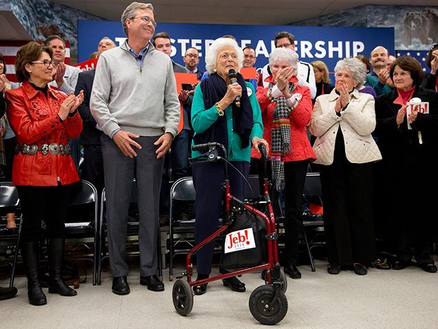 Republican presidential candidate, former Florida Gov. Jeb Bush is introduced by his mother Barbara Bush during a town hall meeting at West Running Brook Middle School in Derry, N.H., Thursday Feb. 4, 2016. (AP Photo/Jacquelyn Martin)
