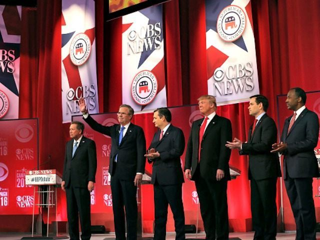 RepublicanÊpresidential candidates (L-R) Ohio Governor John Kasich, Jeb Bush, Sen. Ted Cruz (R-TX), Donald Trump, Sen. Marco Rubio (R-FL) and Ben Carson participate in a CBS News GOP Debate February 13, 2016 at the Peace Center in Greenville, South Carolina. Residents of South Carolina will vote for the Republican candidate …