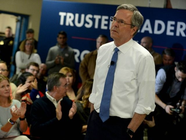 SALEM, NH - FEBRUARY 17: Republican Presidential candidate Jeb Bush holds a town hall at Woodbury School February 7, 2016 in Salem, New Hampshire. Candidates are in a last push for votes ahead of the first in the nation primary on February 9. (Photo by *** Local Caption *** Jeb …