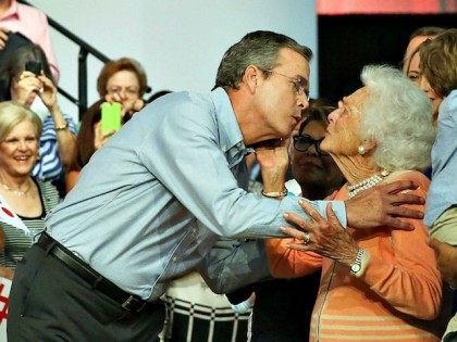 MIAMI, FL - JUNE 15:  Former Florida Governor Jeb Bush kisses his mother Barbara Bush as he is introduced to announce his candidacy for the Republican presidential nomination during an event at Miami-Dade College - Kendall Campus on June 15 , 2015 in Miami, Florida. Bush joins a list of Republican candidates to announce their plans on running against the Democrats for the White House.  (Photo by Joe Raedle/Getty Images)