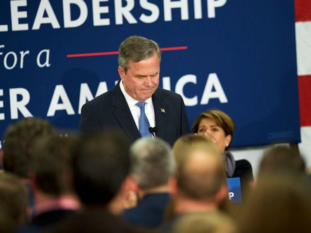 Jeb Bush reacts as he announces the suspension of his presidential campaign at an election night party at the Hilton Columbia Center in Columbia, SC on February 20, 2016. Donald Trump won decisively in the South Carolina Republican Presidential Primary, the 'first in the south.' (Photo by