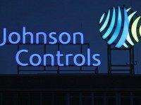 The logo of Johnson Controls stands over its production plant on March 1, 2009 in Hanover, Germany.