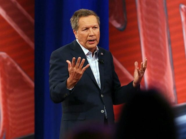 COLUMBIA, SC - FEBRUARY 18: Republican presidential candidate Gov. John Kasich answers a voter's question in a CNN South Carolina Republican Presidential Town Hall with host Anderson Cooper on February 18, 2016 in Columbia, South Carolina. The primary vote in South Carolina is February 20. (Photo by