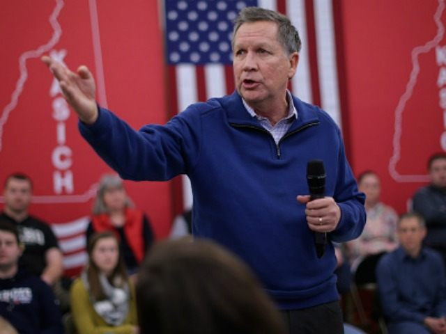 Republican presidential candidate and Ohio Gov. John Kasich holds a town hall meeting in the cafetaria at Bow Elementary School January 31, 2016 in Bow, New Hampshire. This was Kasich's 86th town hall meeting in New Hampshire, where the country's first primary election will be held Feburary 9. (Photo by