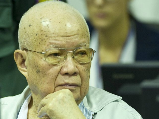 CAMBODIA, Phnom Penh : This handout photo taken and released by the Extraordinary Chambers in the Courts of Cambodia (ECCC) on July 2, 2015 shows former Khmer Rouge head of state Khieu Samphan sitting in the courtroom at the ECCC in Phnom Penh. Two former Khmer Rouge leaders July 2 …