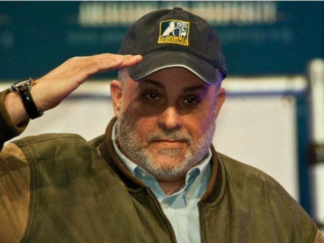 Mark Levin acknowledges the crowd after speaking at a 'Cut Spending Now' rally at the conservative Americans for Prosperity (AFP) 'Defending the American Dream Summit' in Washington on November 5, 2011. AFP PHOTO/Nicholas KAMM (Photo credit should read