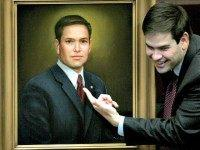 House Speaker Marco Rubio, R-Coral Gables, points to his official portrait that will hang in the House chamber, Friday, May 2, 2008, in Tallahassee, Fla.  Rubio is in his final session as House Speaker.(AP Photo/Phil Coale)