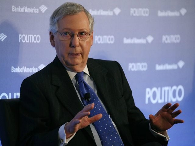 Senate Majority Leader Mitch McConnell, (R-KY) speaks during an interview by Politico at the Grand Hyatt on December 15, 2015 in Washington DC.