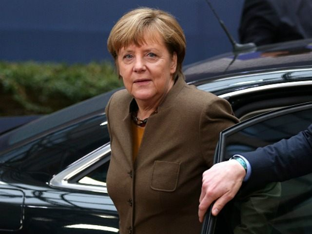 German Chancellor Angela Merkel arrives at the Council of the European Union on February 18, 2016 in Brussels, Belgium.