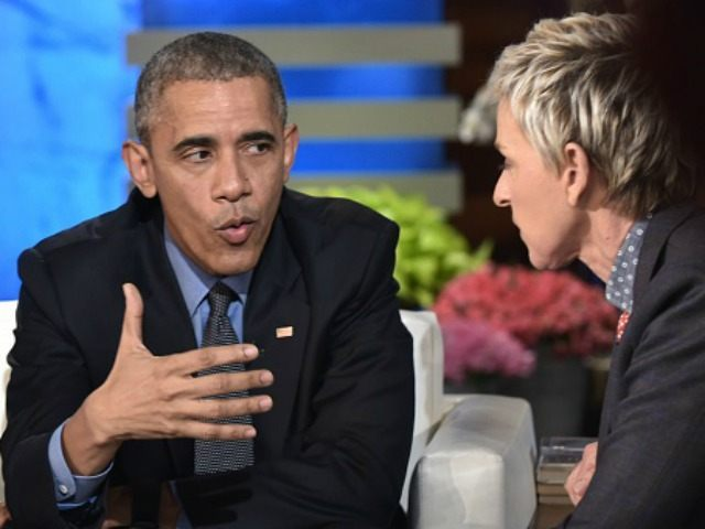 Barack Obama talks to talk show host Ellen DeGeneres during a break in the taping of The Ellen DeGeneres show at Warner Brothers Studios in Burbank, California on February 11, 2016.