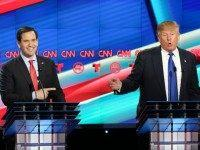 Sen. Marco Rubio (R-FL) reacts to a point by Donald Trump during the Republican debate on February 25, 2016 in Houston, Texas.
