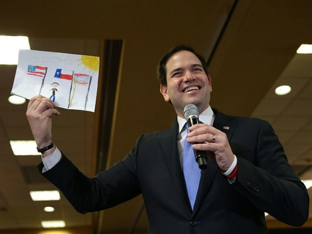 U.S. Sen. Marco Rubio (R-FL) holds up a drawing on February 24, 2016 in Houston, Texas.