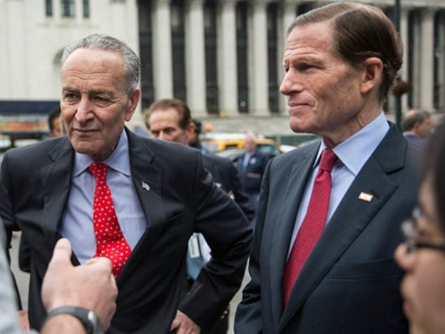 Senators Charles Schumer (D-NY), left, and Senator Richard Blumenthal (D-CT), May 15, 2015 in New York City.