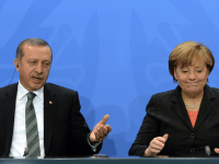 Turkey's Prime Minister Recep Tayyip Erdogan and German Chancellor Angela Merkel