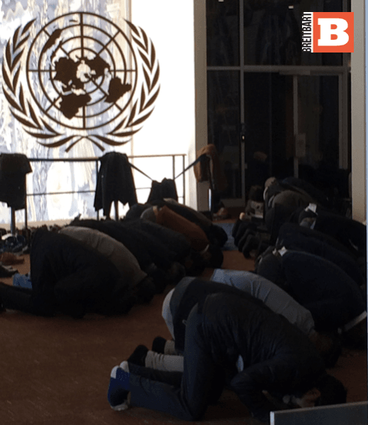 Muslim Prayers in area of UN General Assembly Building (Human Rights Voices / Breitbart News)