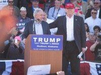 Sen. Jeff Sessions (R-AL) announces his support for Republican presidential candidate Donald Trump (R) during a campaign rally at the Madison City Schools Stadium on February 28, 2016.