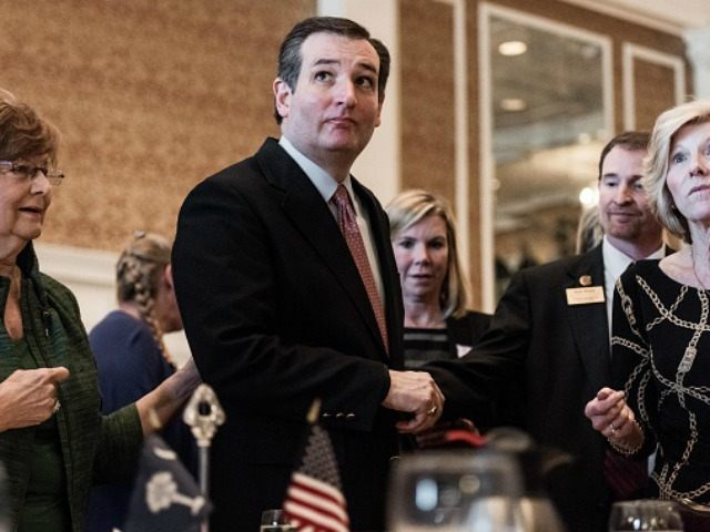 Republican presidential candidate Ted Cruz addresses a Republican women's organization at the Poinsett Club February 18, 2016 in Greenville, South Carolina.