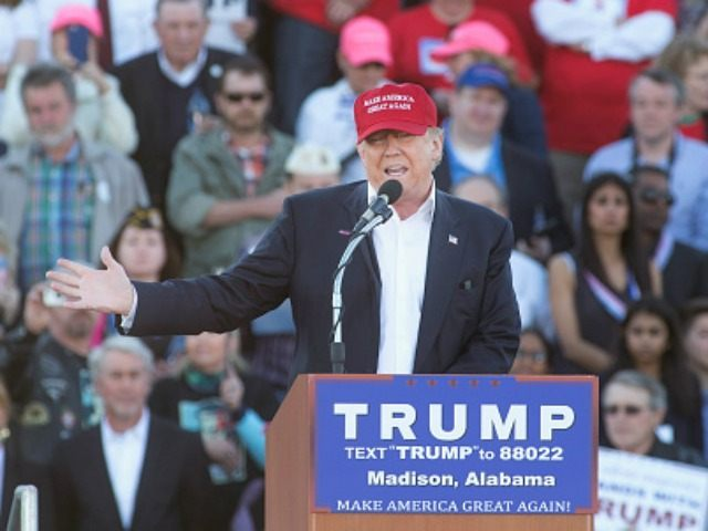 Republican presidential candidate Donald Trump speaks at a campaign rally at the Madison City Schools Stadium on February 28, 2016 in Madison, Alabama.