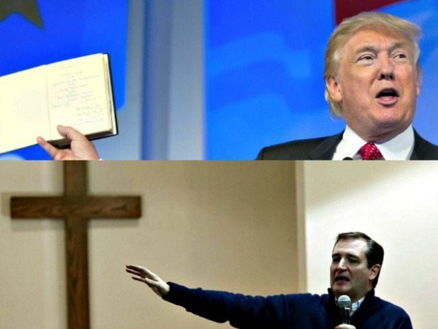 Trump Bible Cruz Cross AP Photos